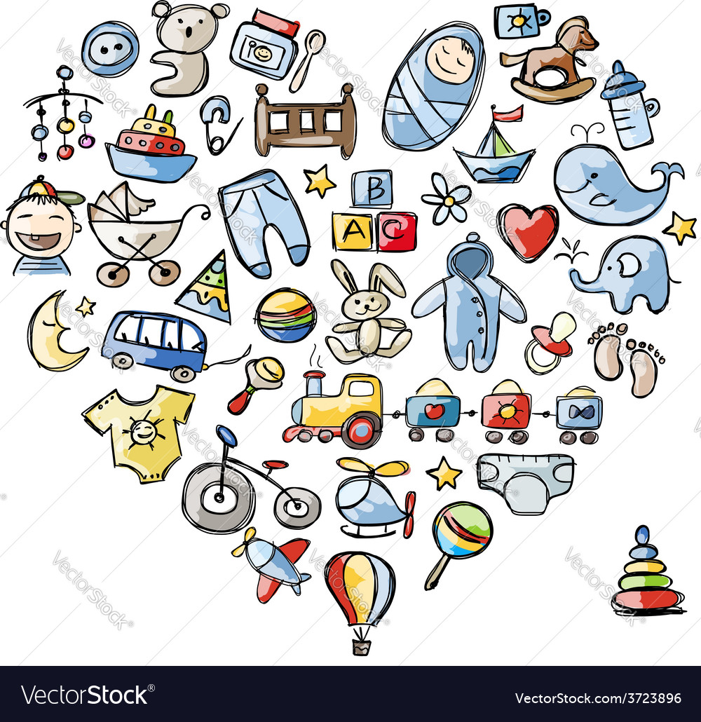 Heart shape design with toys for baby boy vector