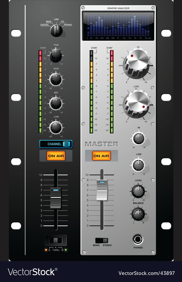 Recording studio controls vector