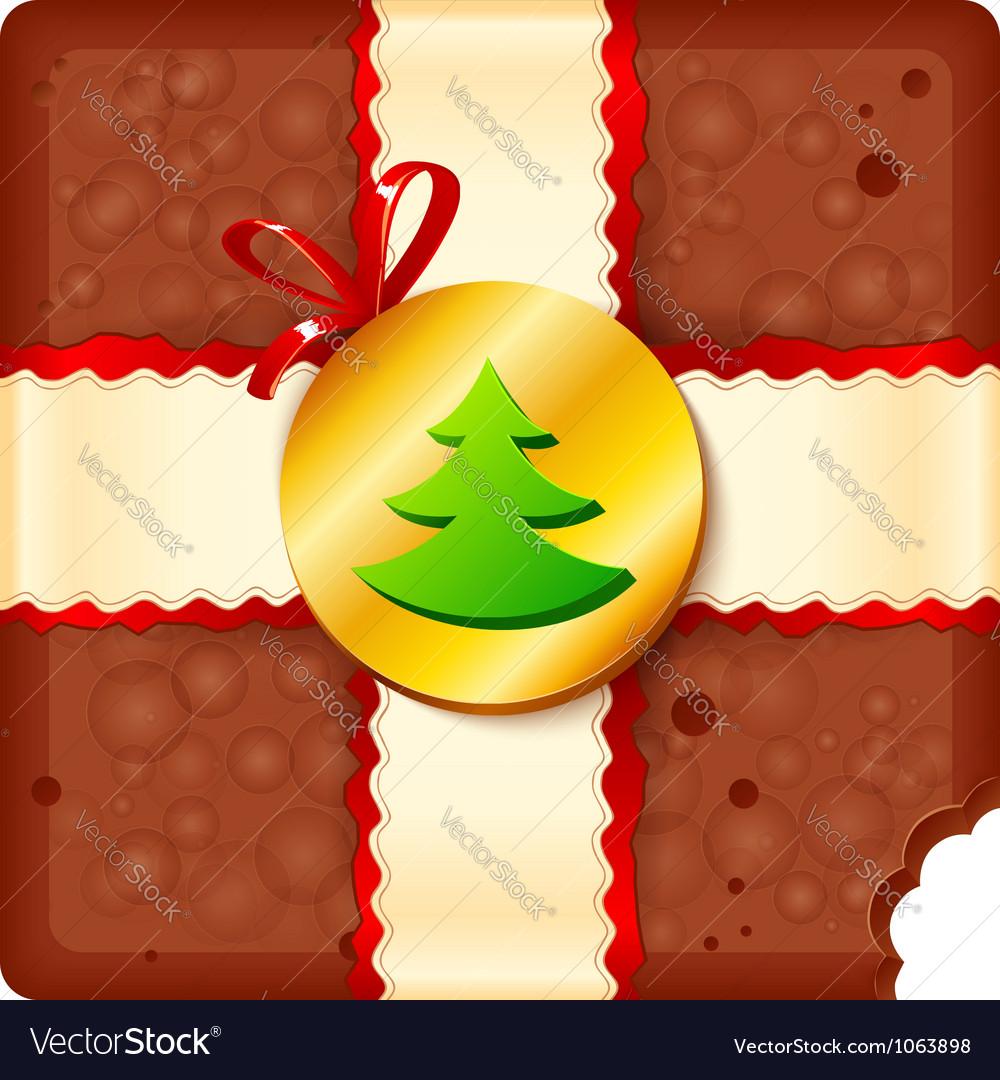 Christmas chocolate box with badge and ribbon vector