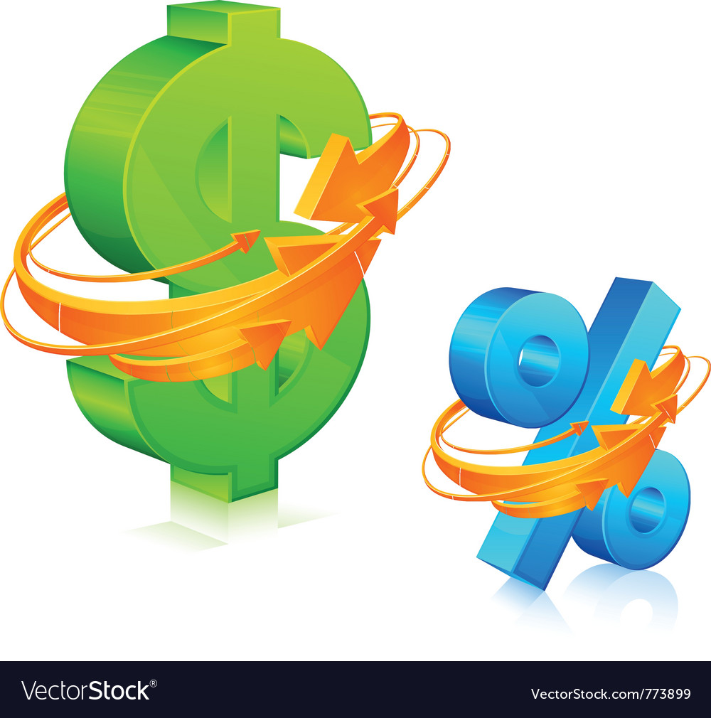Dollar and percent symbol vector