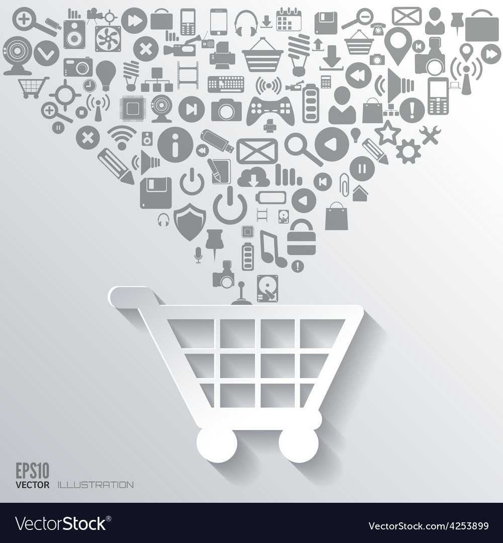Shopping bag icon flat abstract background with vector