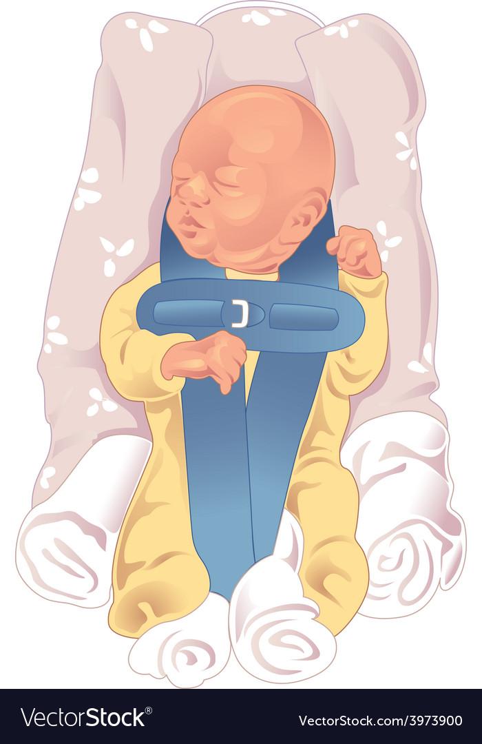 Baby in car seat vector