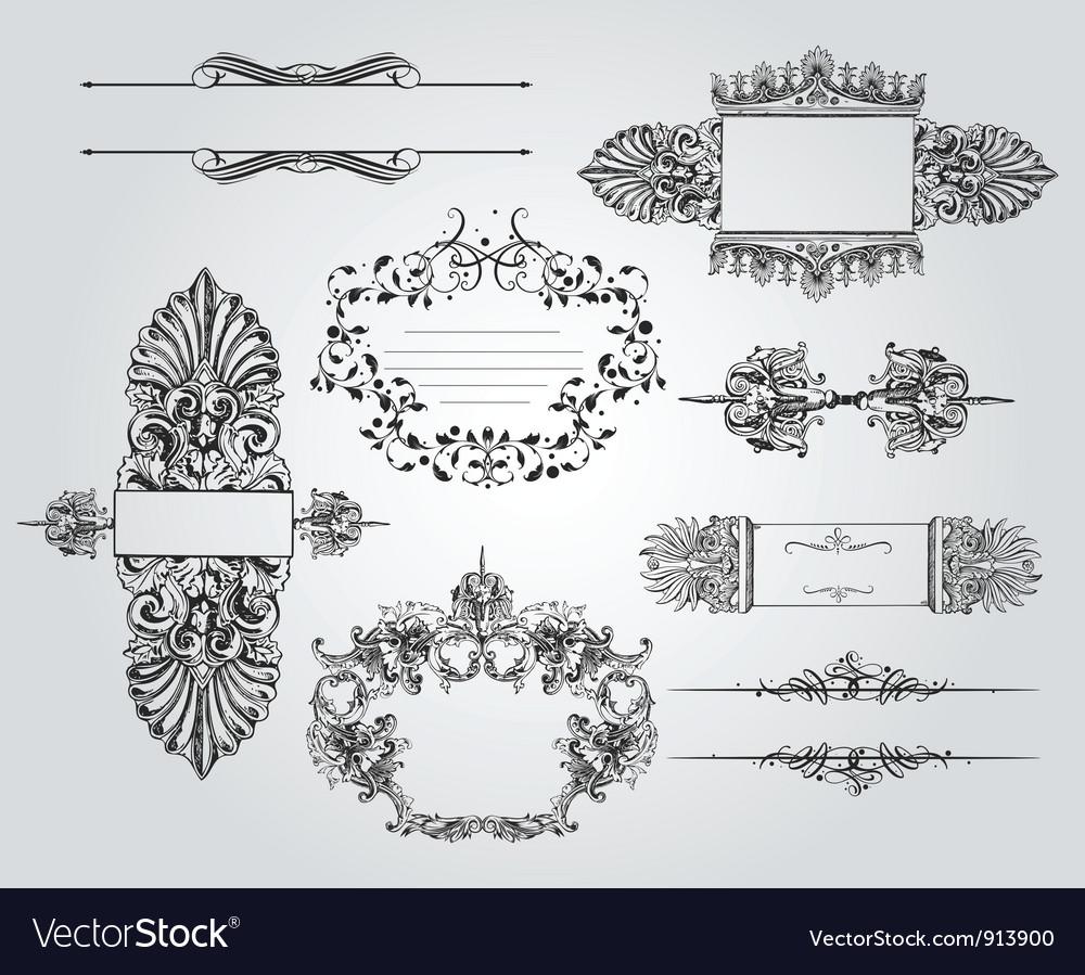 Vintage ornament set vector