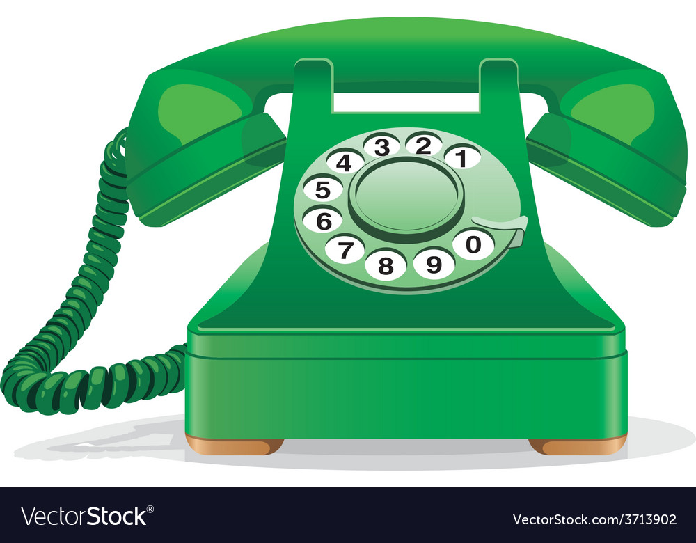 Green retro telephone vector