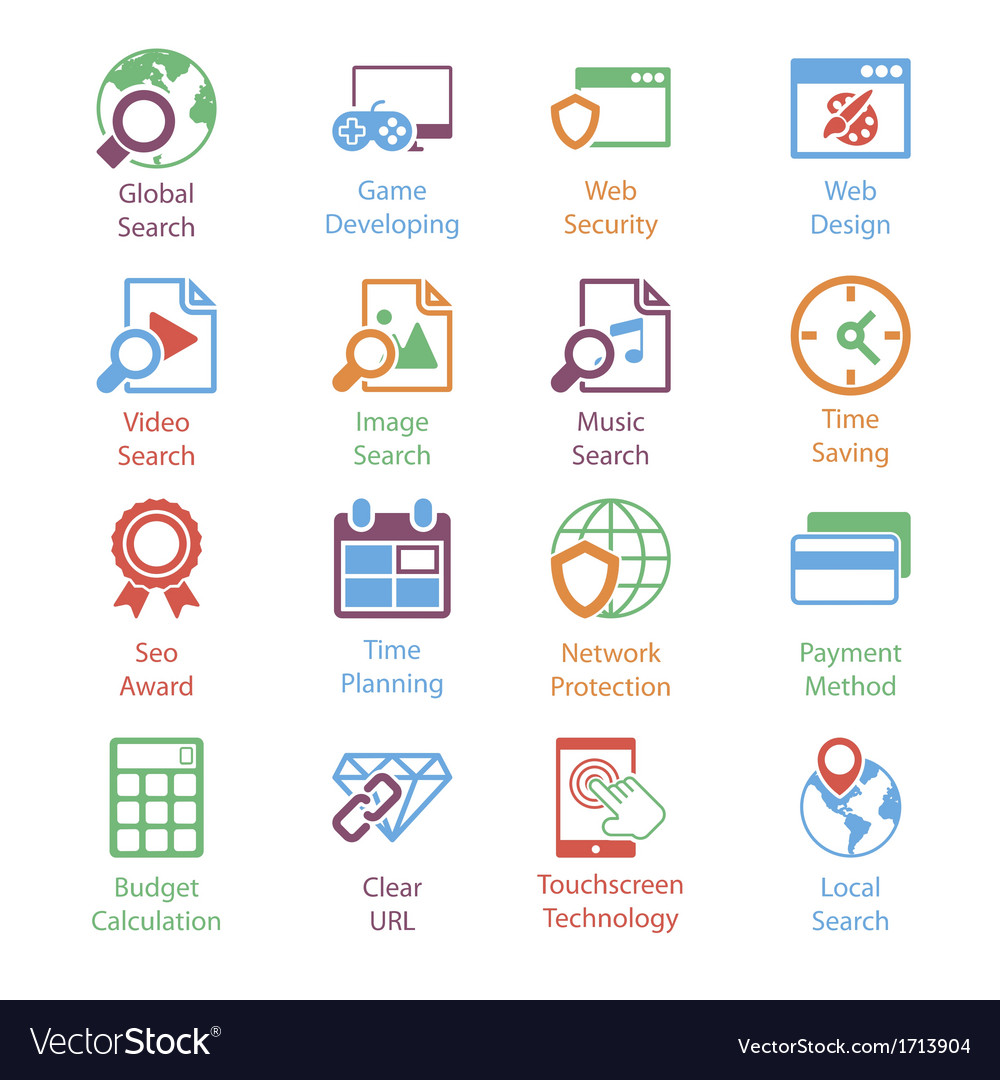 Color internet marketing icons vol 3 vector