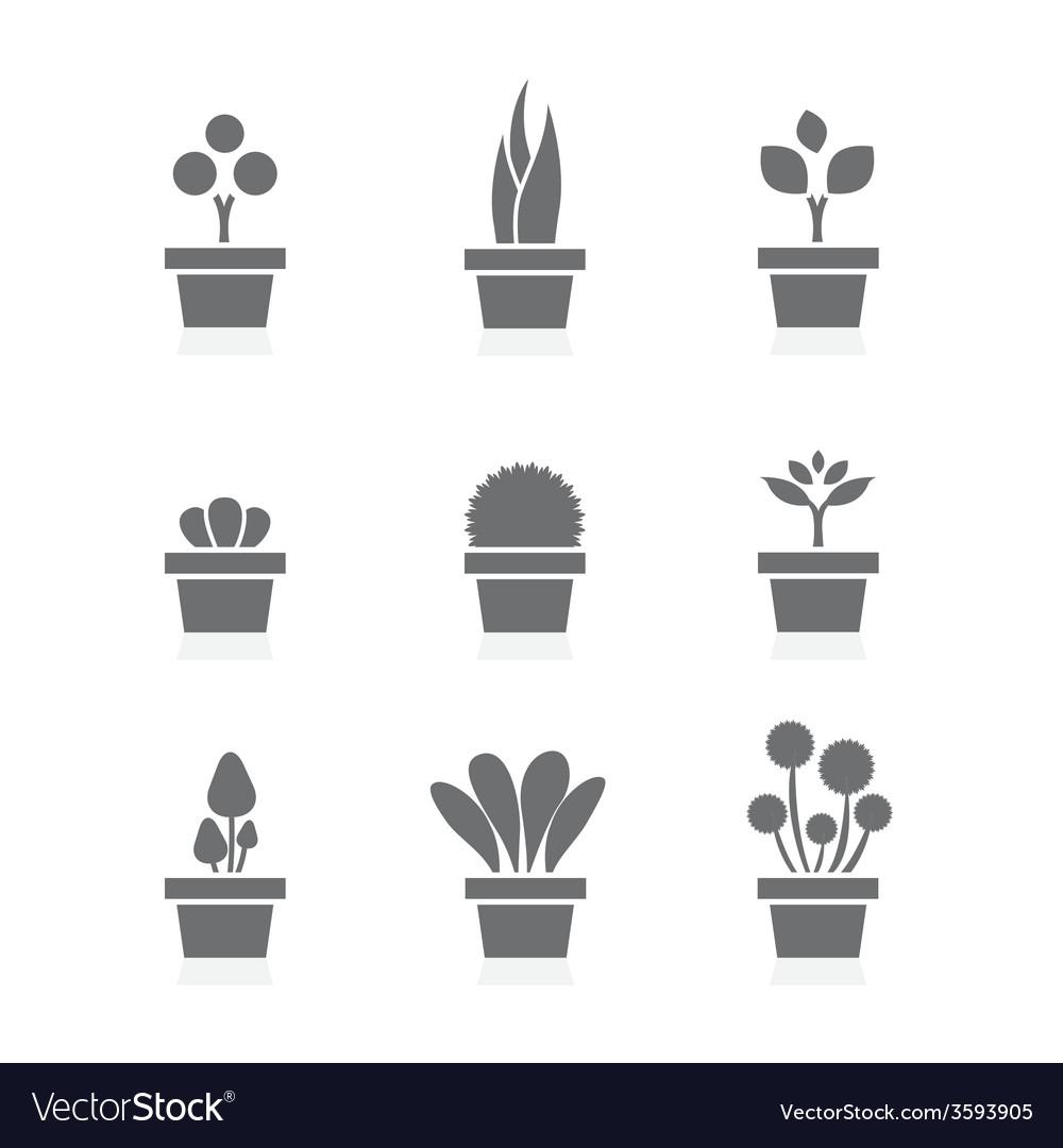 Set of pot plants black symbol vector