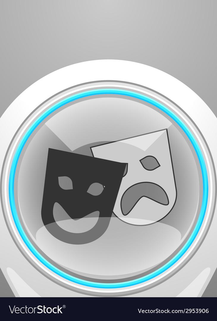 Glossy theatre icon vector