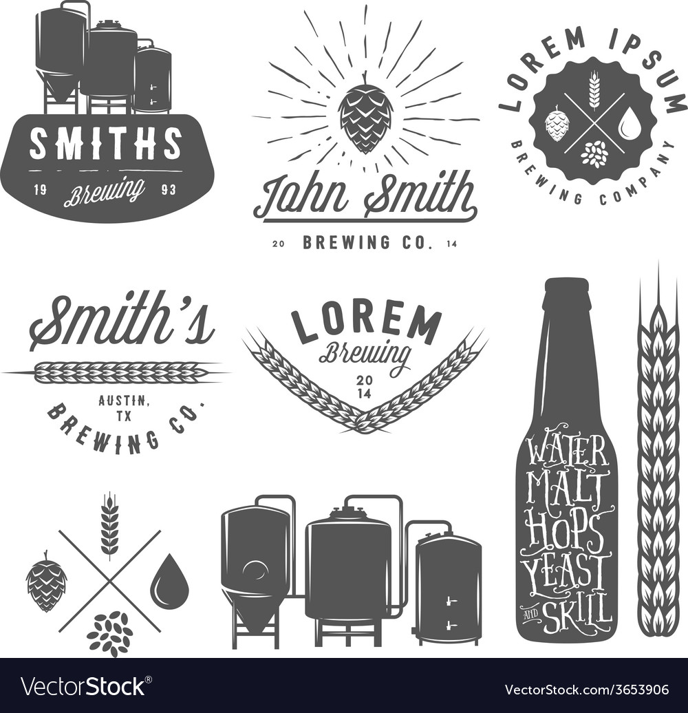 Vintage craft brewery emblems labels and logos vector