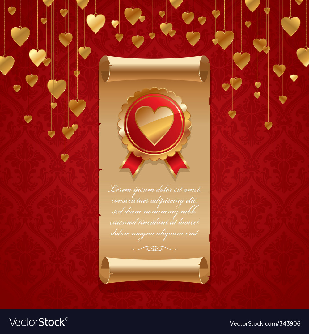 Vintage scroll with hearts vector