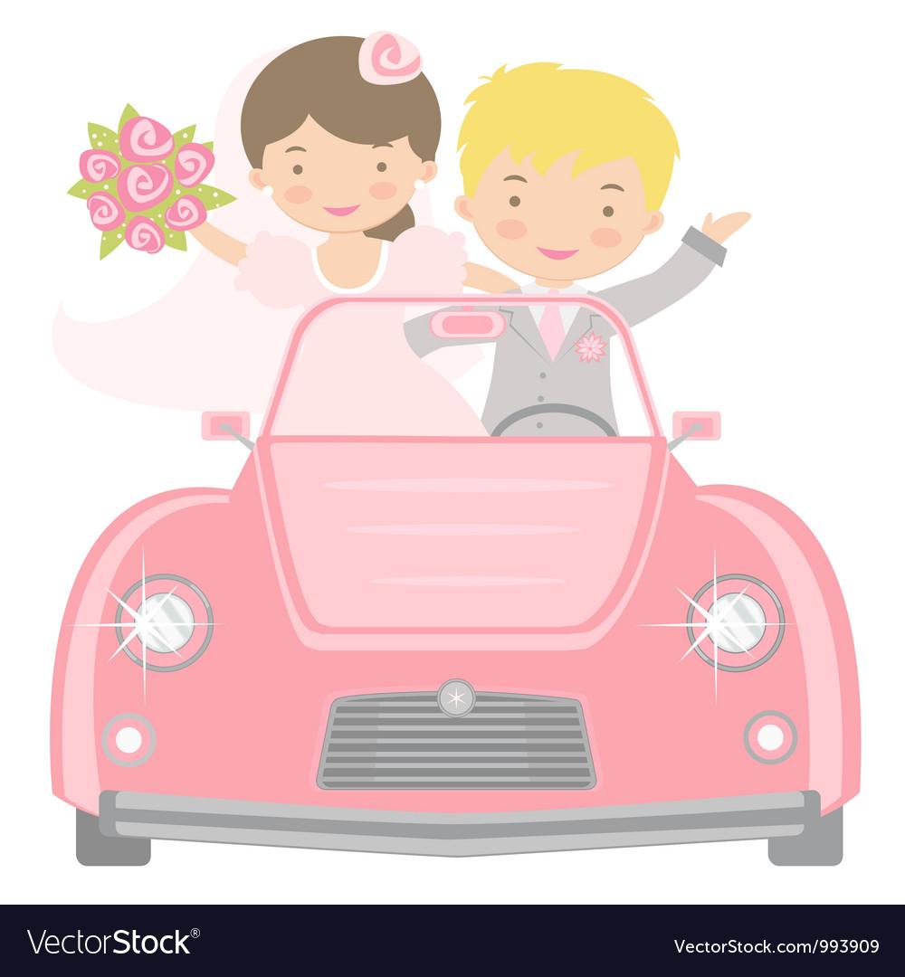 Bride and groom in car vector