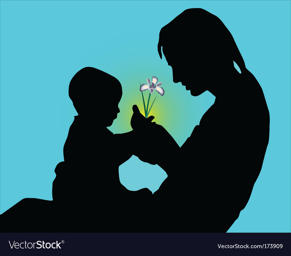 Mum and child silhouette vector