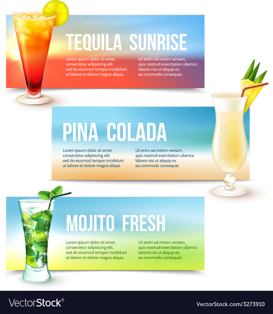 Cocktails banner set vector