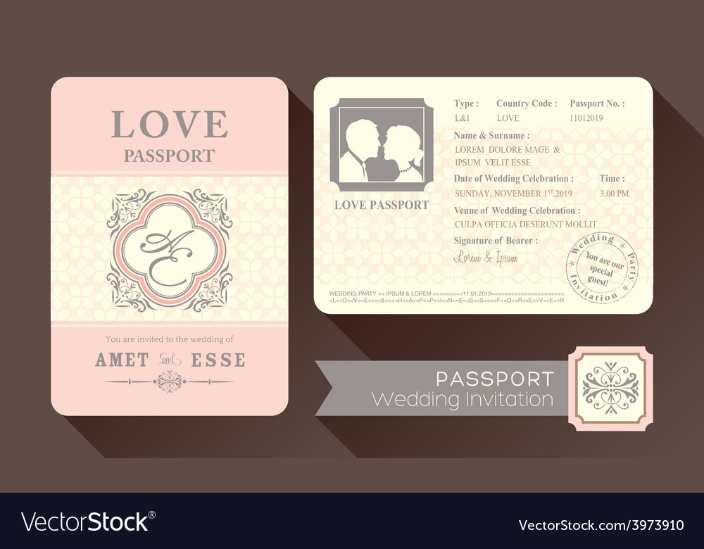 Vintage visa passport wedding invitation card vector
