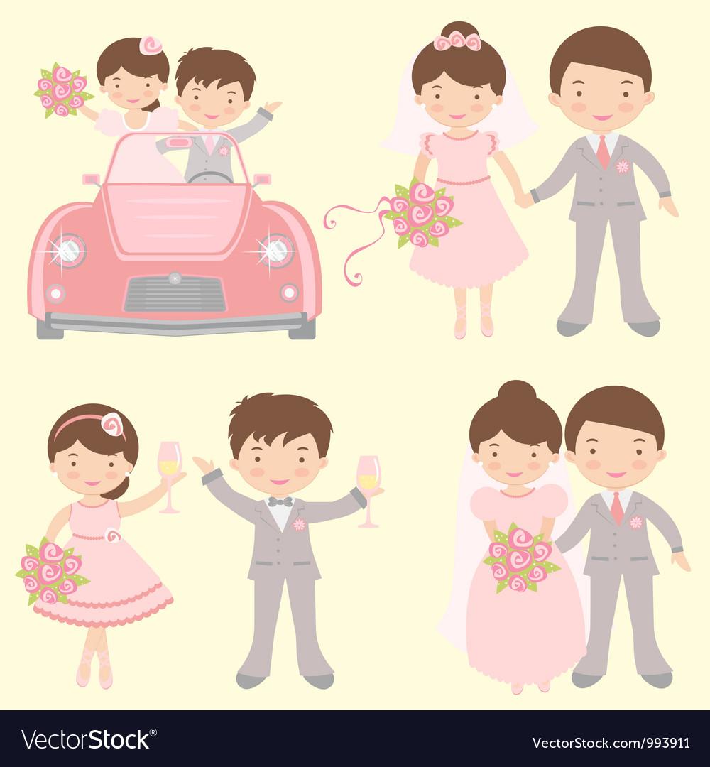 Brides grooms set vector