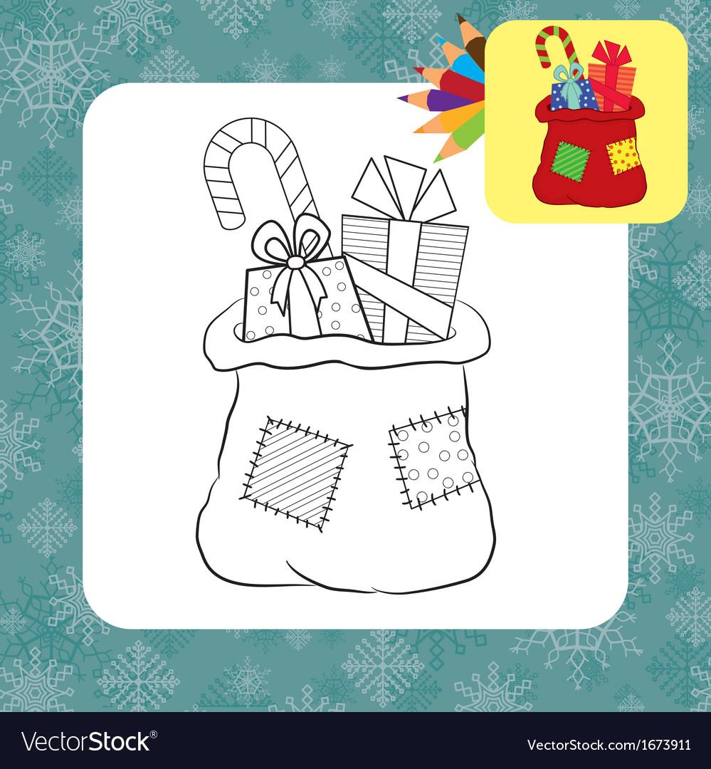 Coloring page santa bag vector