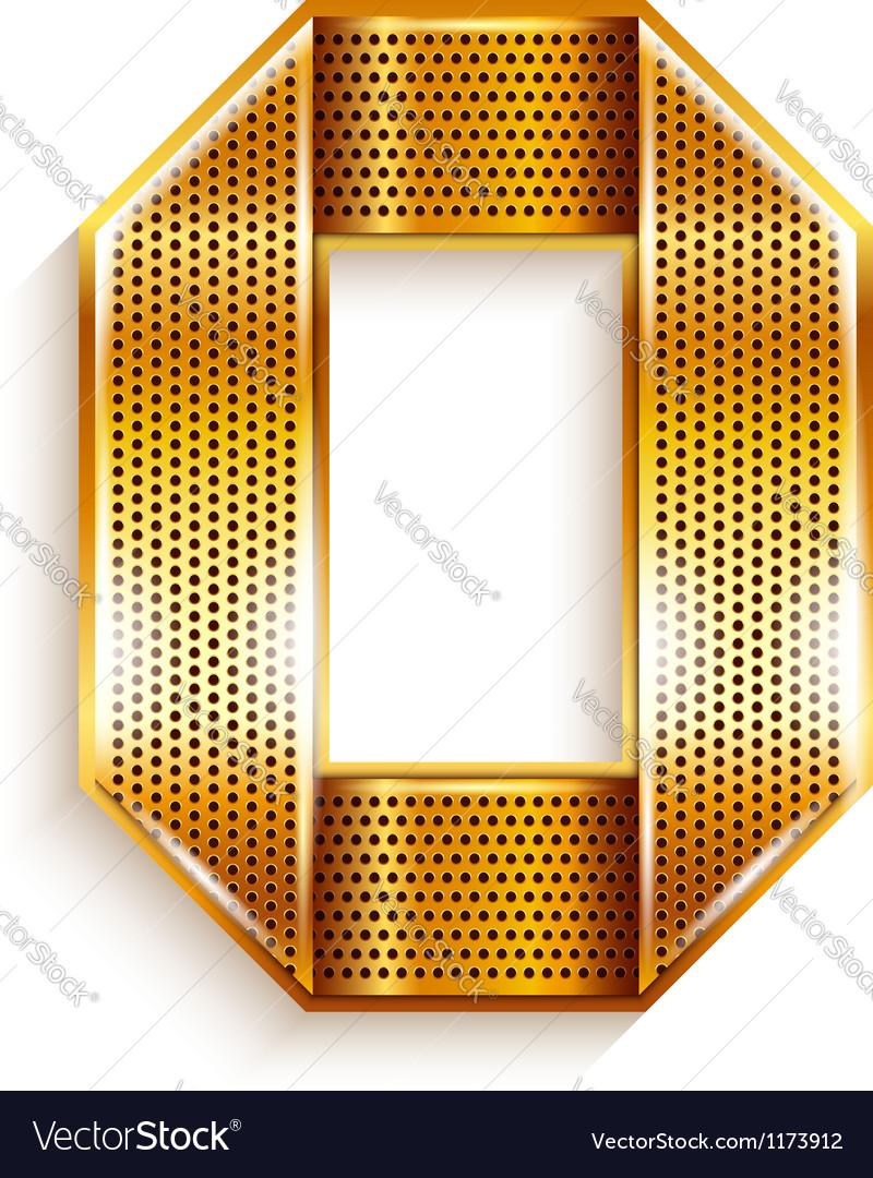 Number metal gold ribbon - 0 - zero vector