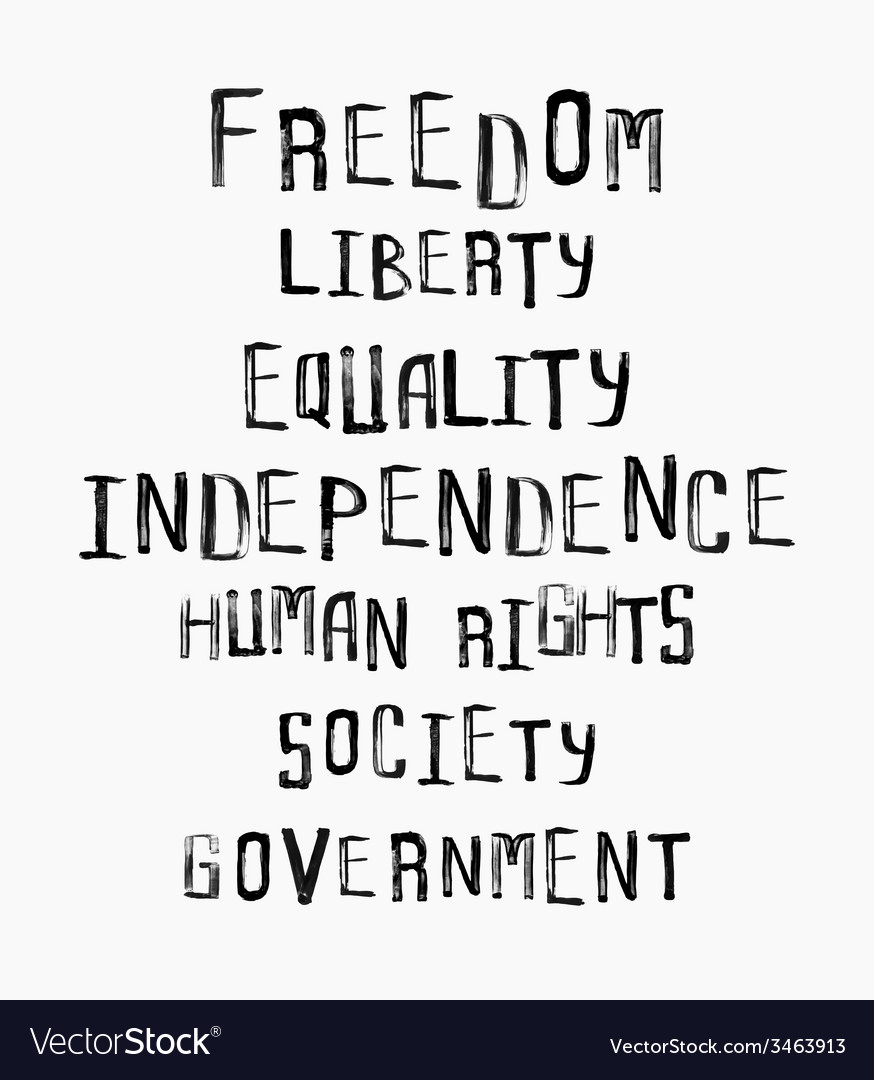 Freedom independence equality concept word cloud vector