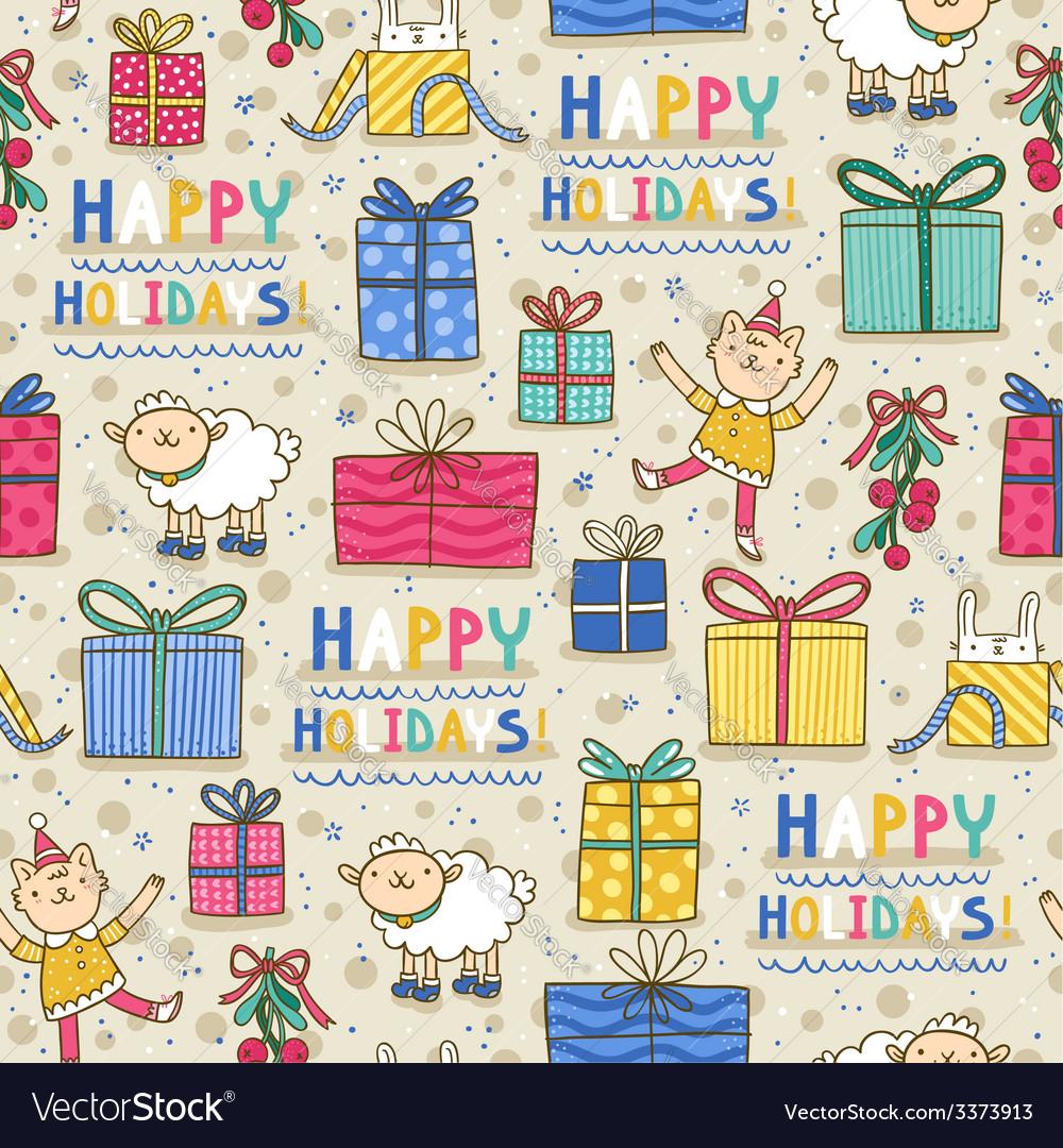 Happy holidays fun seamless pattern on light vector