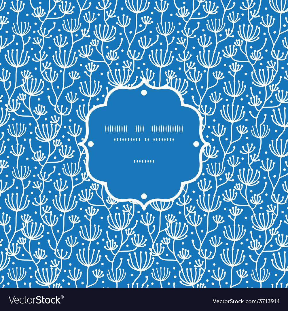 Blue white lineart plants frame seamless vector