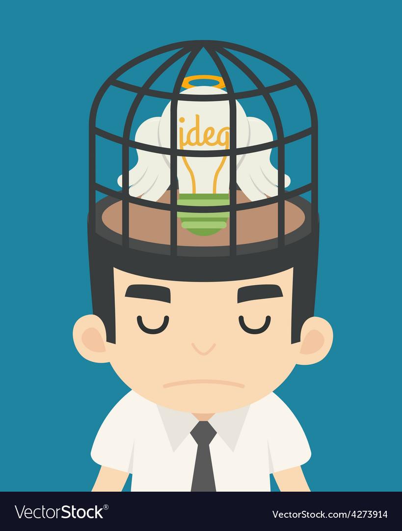Businessman idea inside the birdcage vector