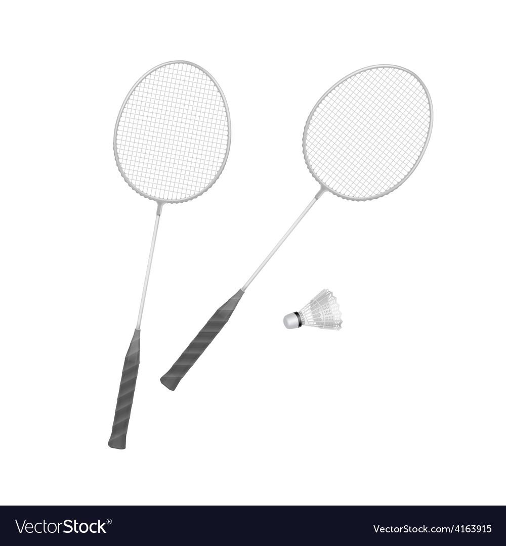 Badminton rackets with shuttlecock isolated vector