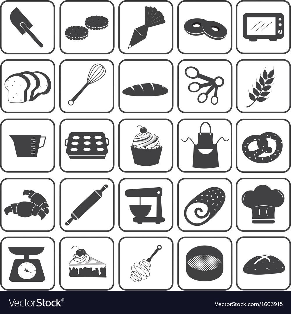 Basic bakery icons set vector