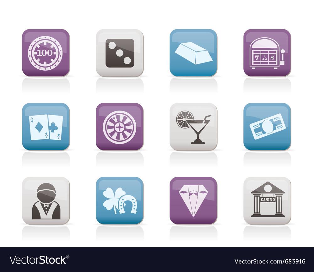 Casino and gambling icons vector