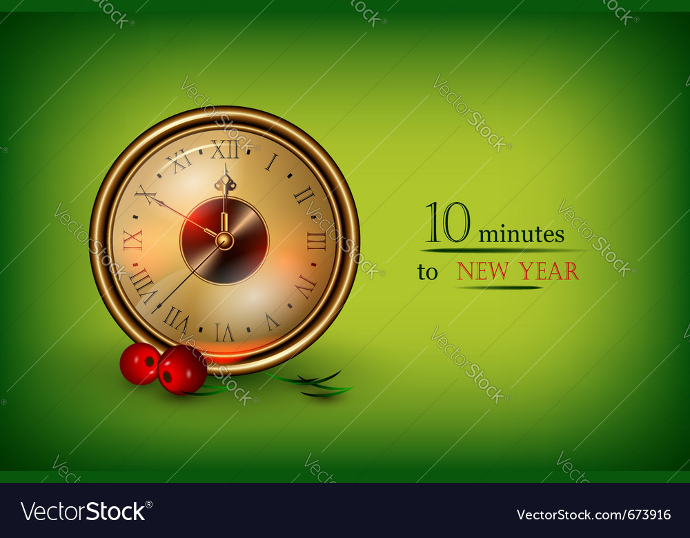 Clock showing 10 minutes vector