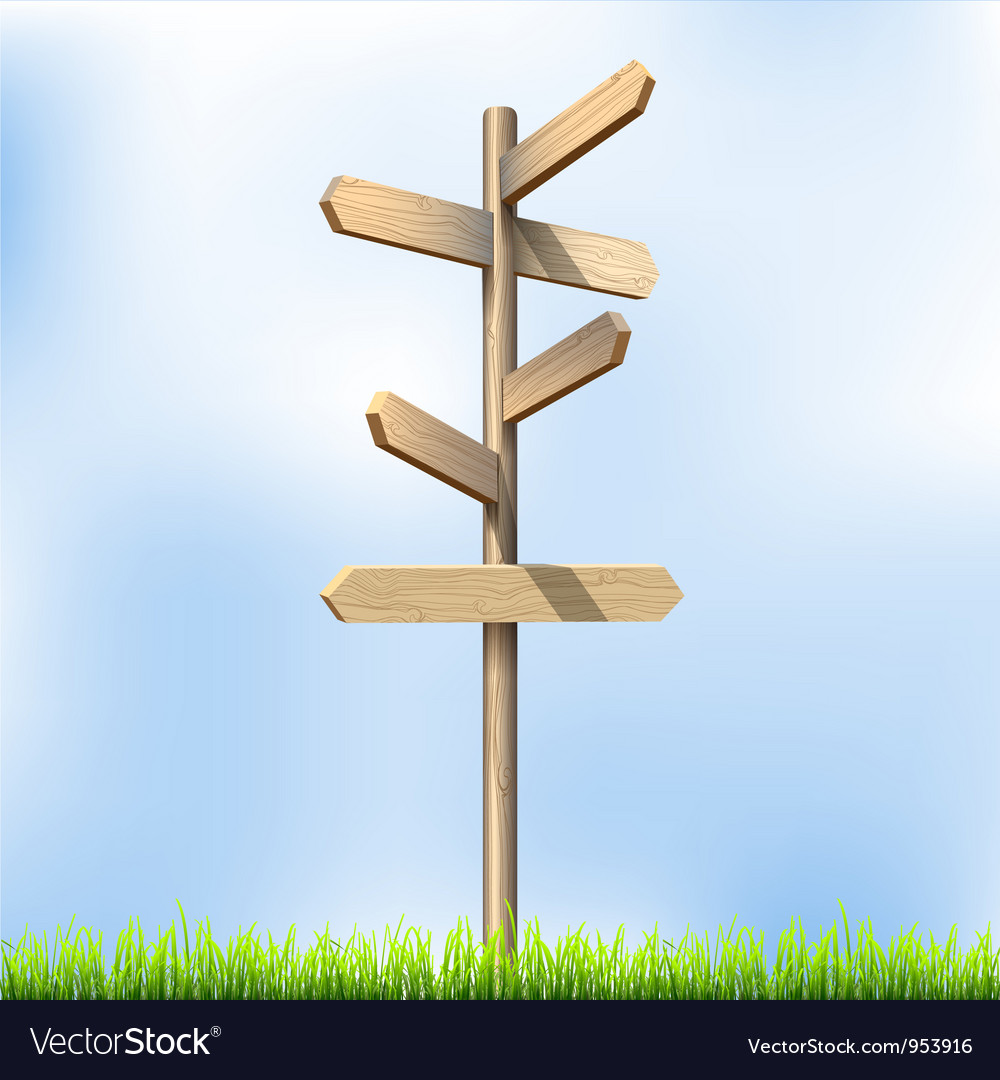 Direction road wooden signs vector