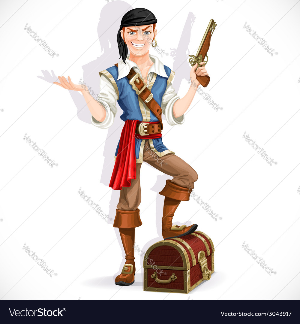 Cute pirate with pistol and chest vector