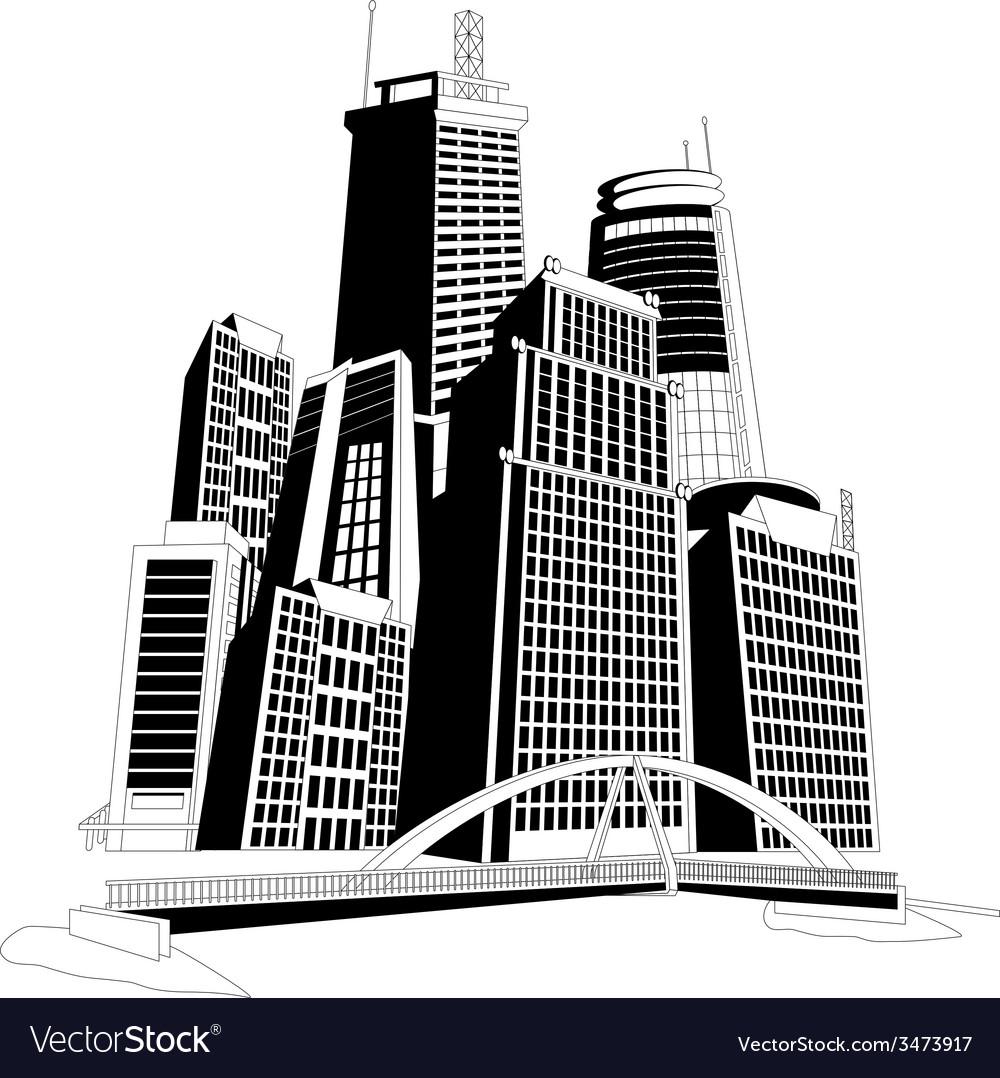 Downtown skyline vector