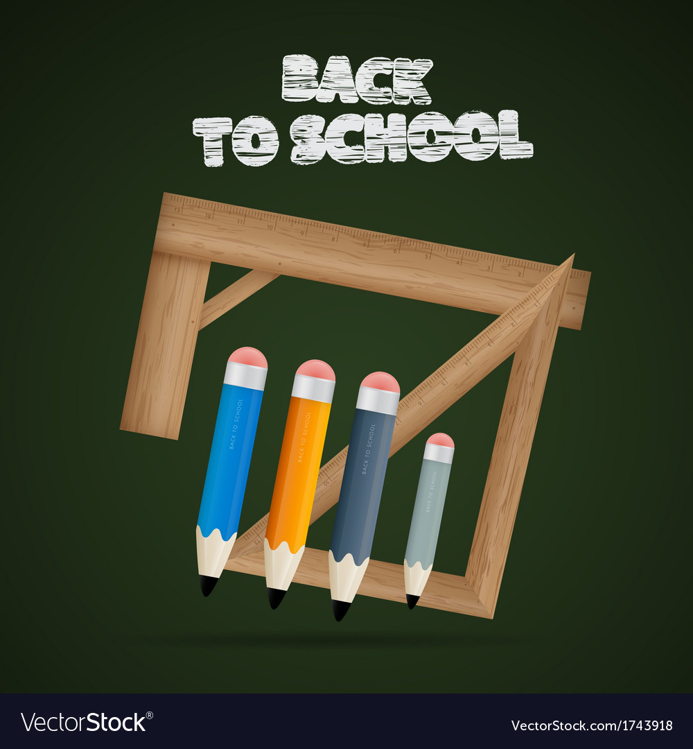 Back to school theme - rulers and pencils on dark vector