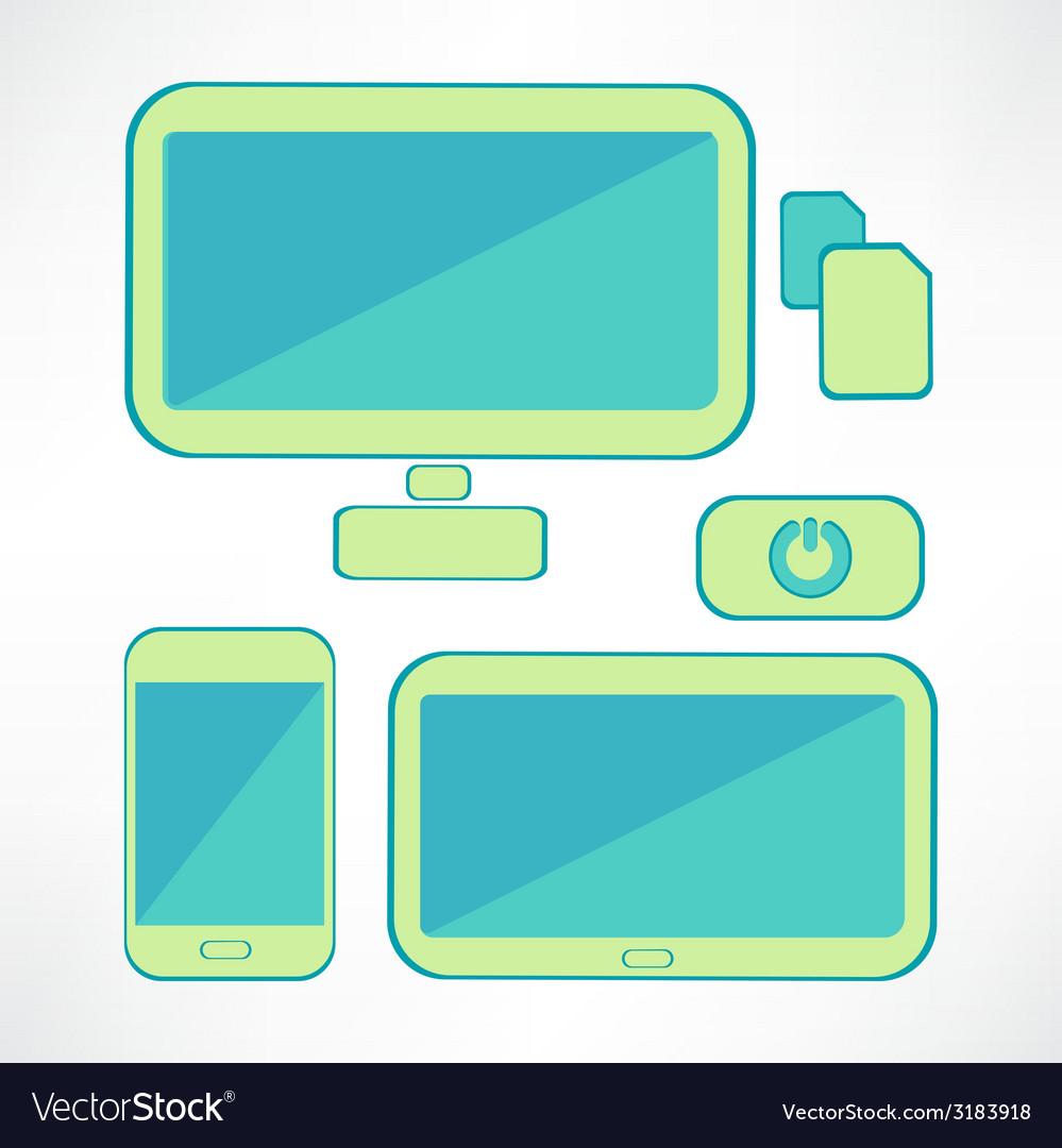 Black computer icons set vector