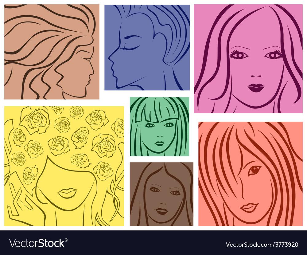 Set of seven colored women portrait vector