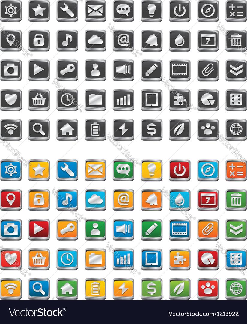 90 metal app icons vector