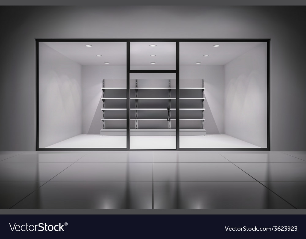 Store interior with shelves vector