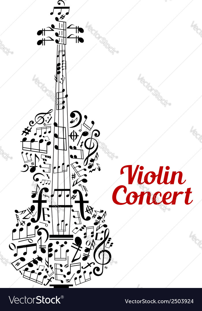 Creative violin concert poster design vector
