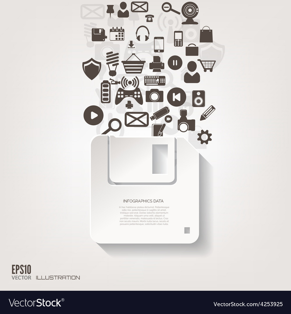 Floppy disk icon flat abstract background with vector