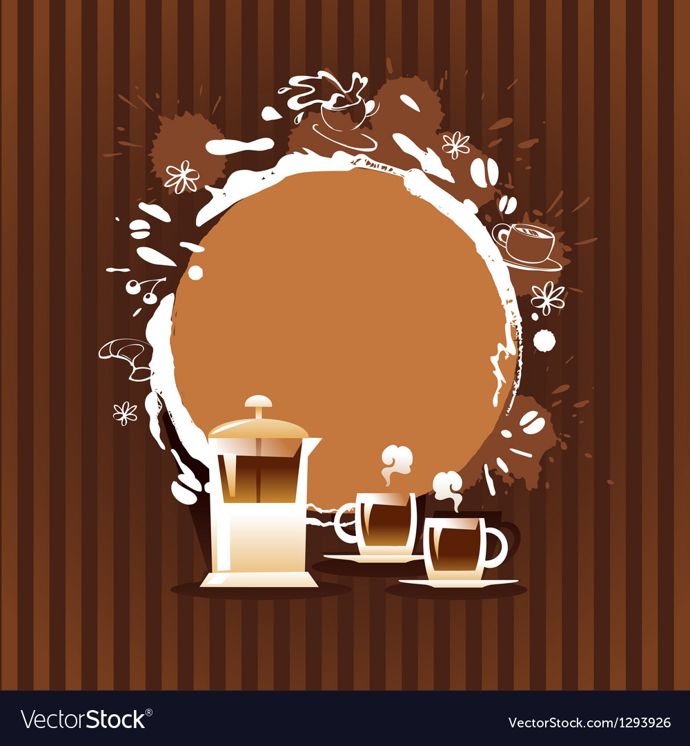 Abstract background with cup and coffee stain vector