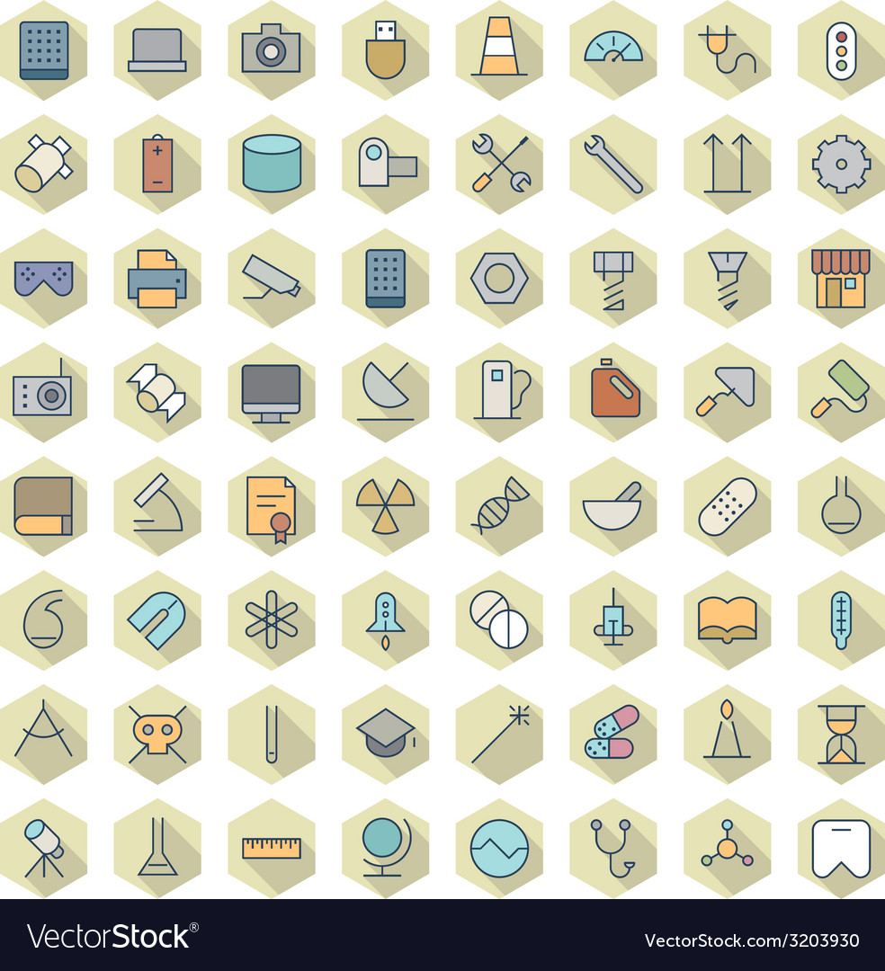 Thin line icons for technology industry science vector