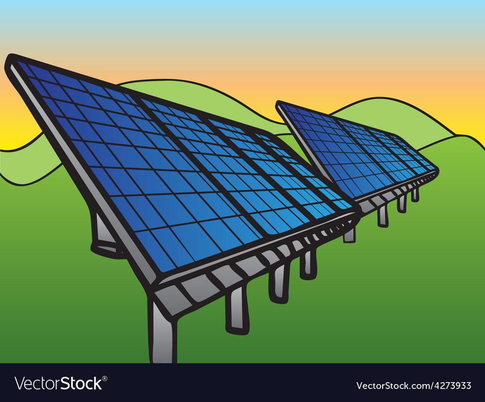 Solar panels at sunset sky vector