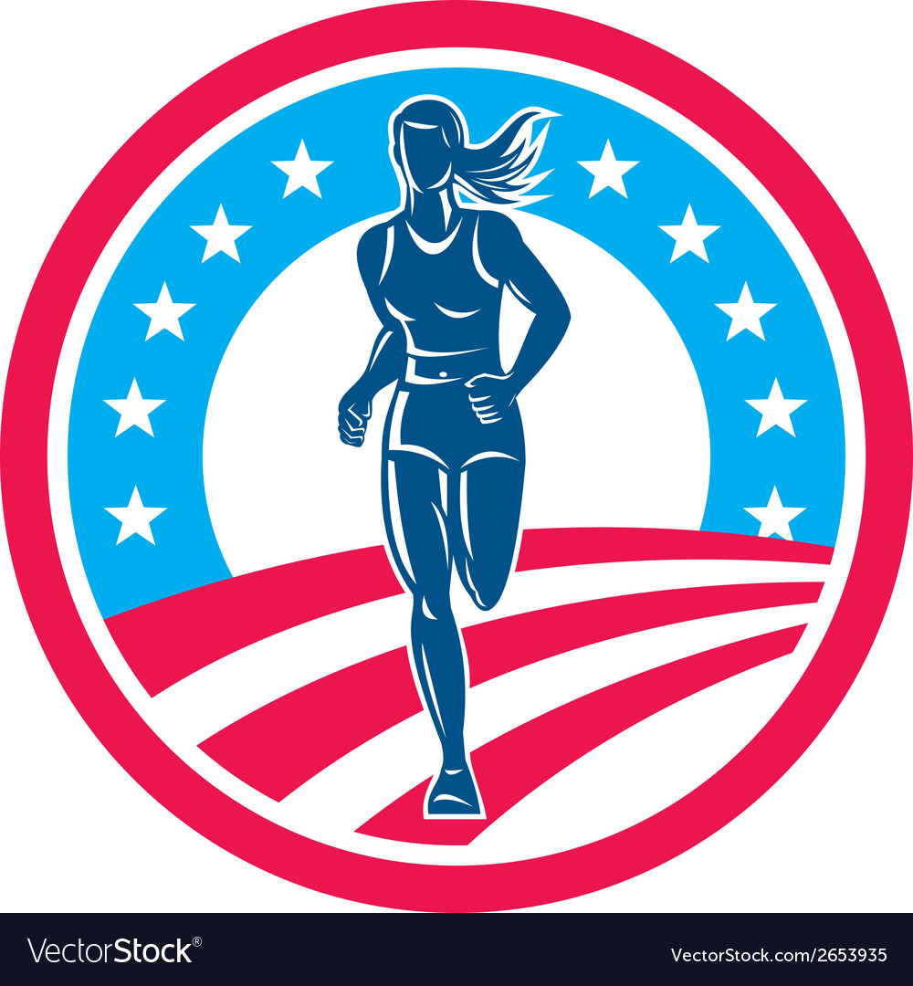 American female triathlete marathon runner circle vector