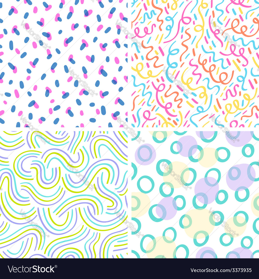 Neon abstraction seamless patterns set vector