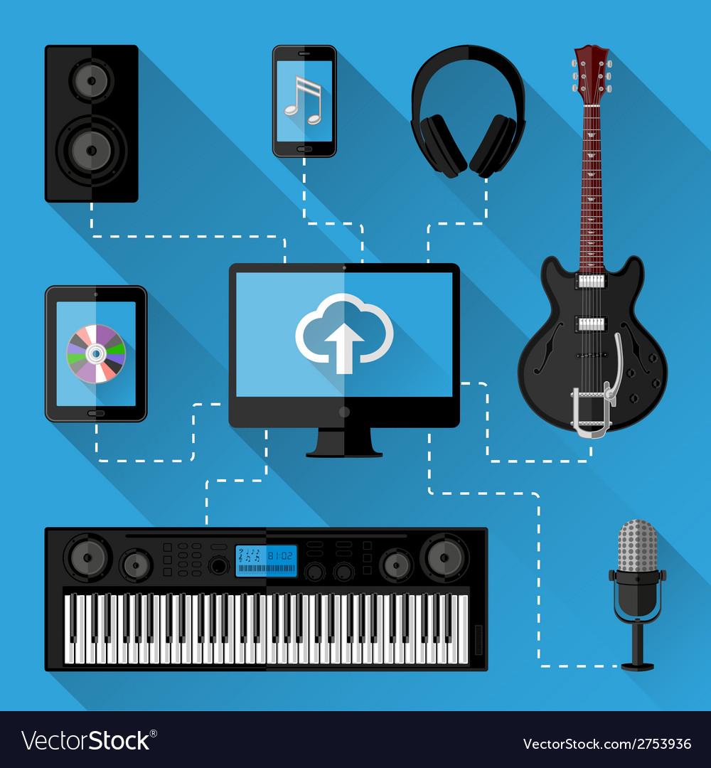 Music recording studio concept vector