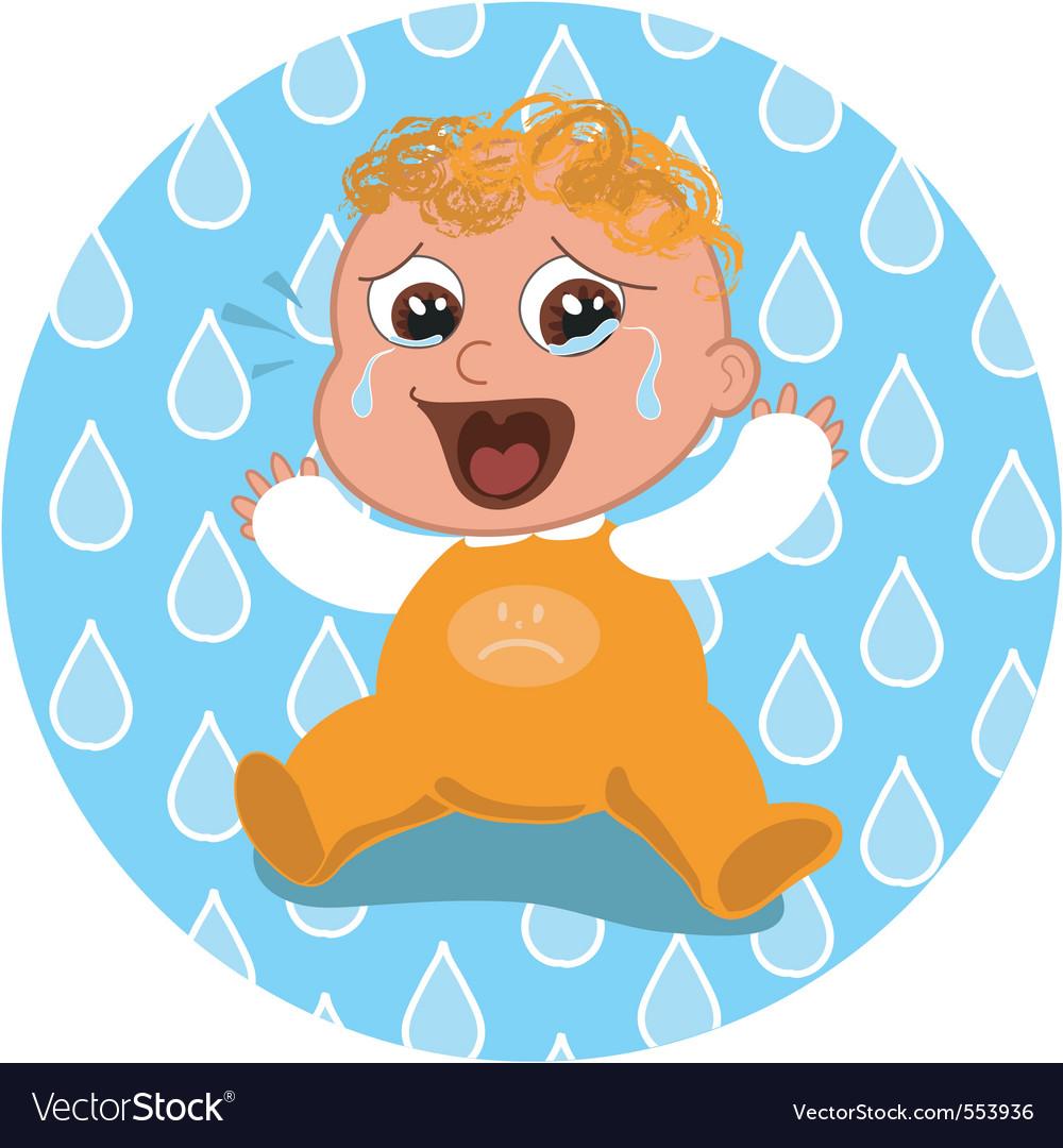 Sad crying baby vector