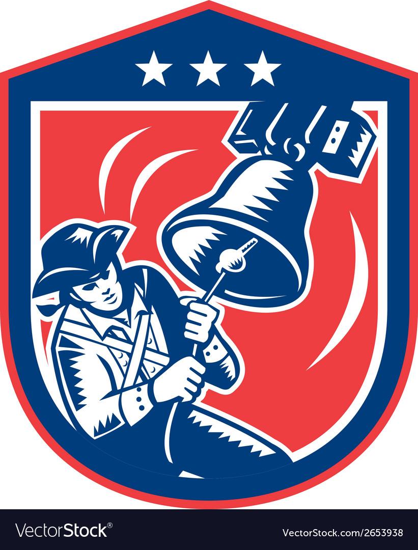 American patriot ringing liberty bell woodcut vector