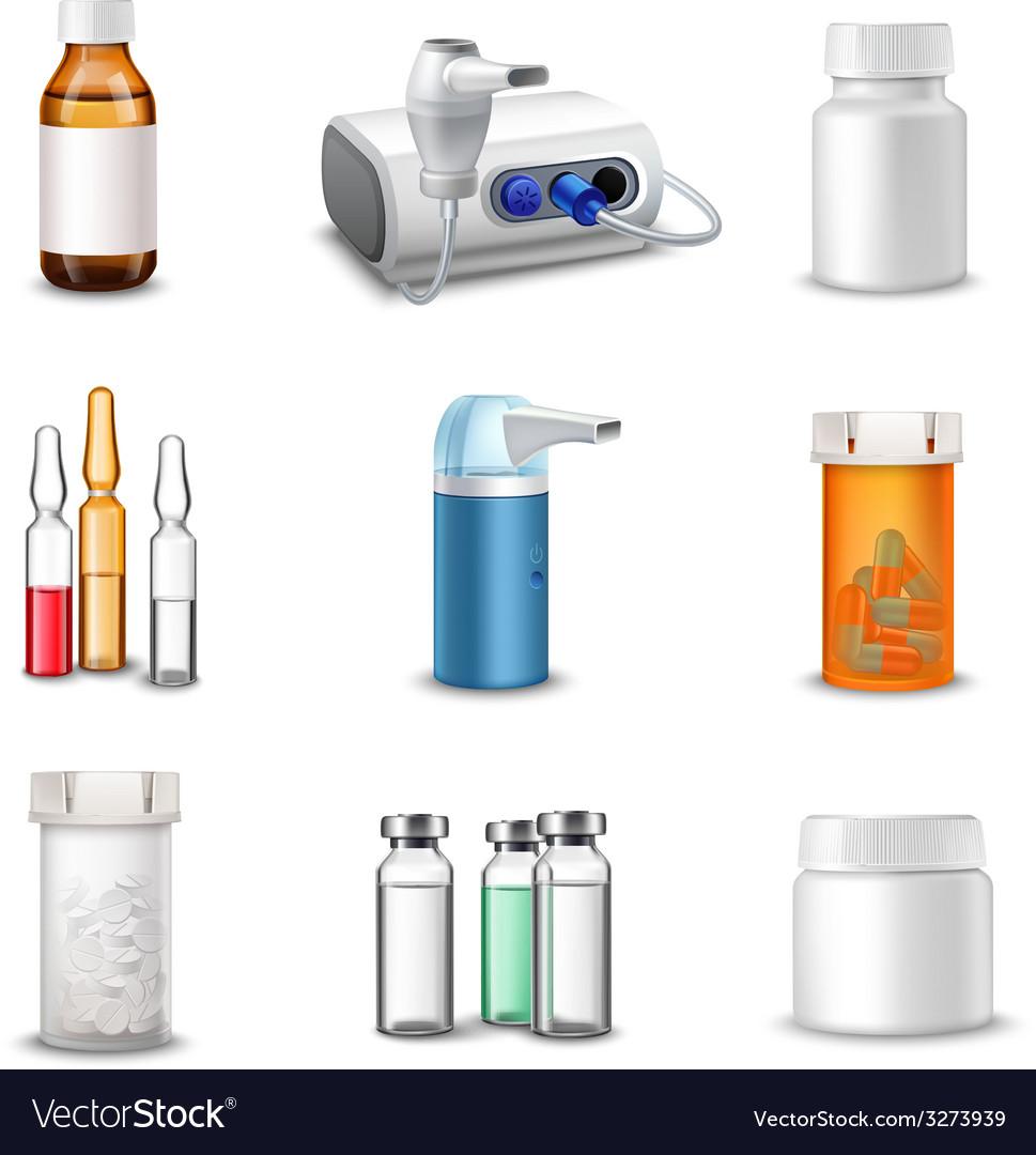 Medical bottles realistic vector