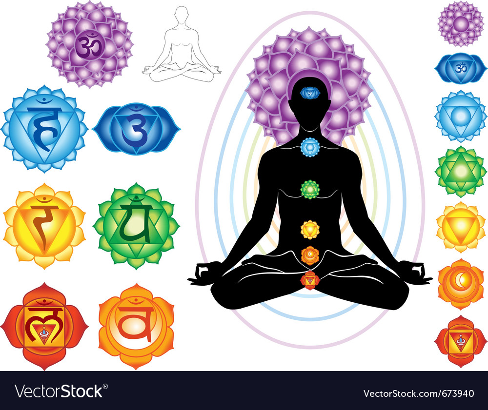 Silhouette of man with symbols of chakra vector