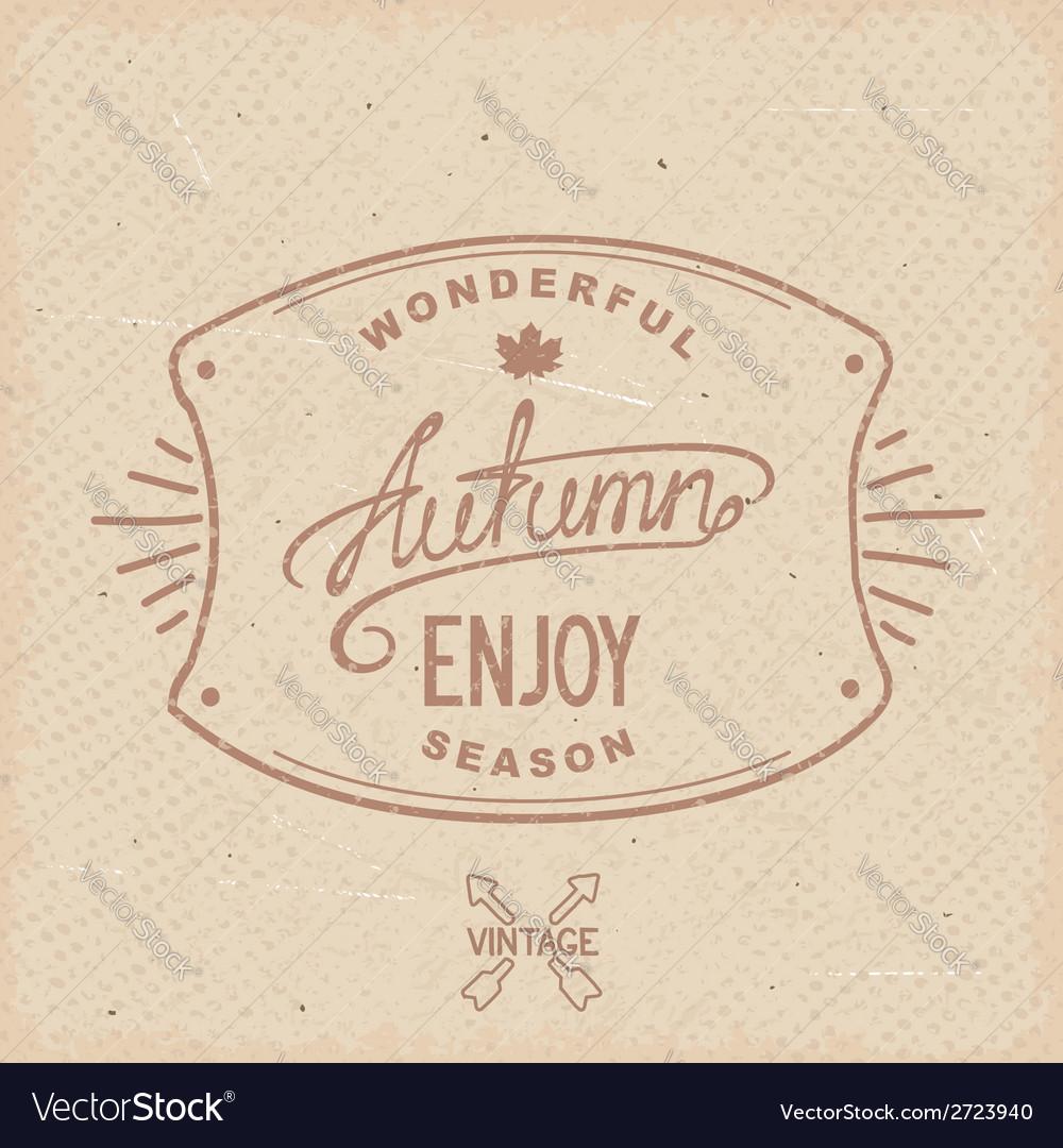 Vintage hipster autumn label vector