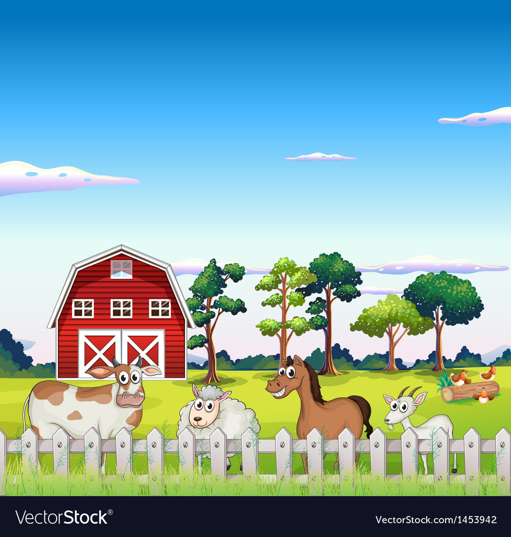 Animals inside the fence with a barnhouse at the vector